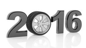 texto 2016 con el borde de la rueda de coche Foto de archivo