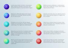 Texto con las balas del número Disposición punteaguda del párrafo diez con los botones del número Plantilla del infographics del  stock de ilustración