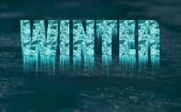 Texto congelado decorativo - inverno - com sincelos imagens de stock