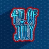 Texto criativo para o 4o da celebração de julho Foto de Stock