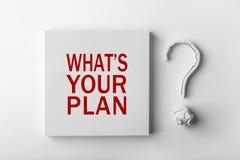 Texto cuál es su signo del plan y de interrogación Imagen de archivo