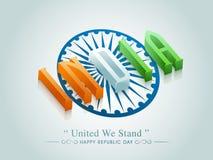 texto 3D com a roda de Ashoka para a celebração do dia da república Fotografia de Stock