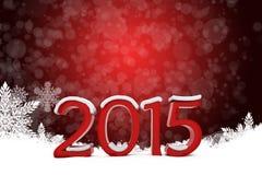 texto 3d 2015 con el fondo de los copos de nieve ilustración del vector