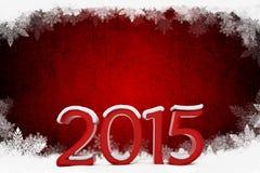 texto 3d 2015 con el fondo de los copos de nieve stock de ilustración