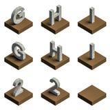 texto 3d de aço no couro Fotos de Stock
