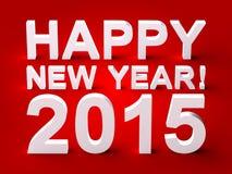 Texto 3d do ano novo feliz 2015 Foto de Stock Royalty Free