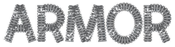 Texto da armadura com as letras feitas de trilhas do tanque Fotografia de Stock Royalty Free