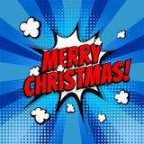 Texto da banda desenhada do pop art do Feliz Natal Fotografia de Stock Royalty Free