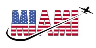 Texto da bandeira de Miami com ilustração do plano e do swoosh Foto de Stock