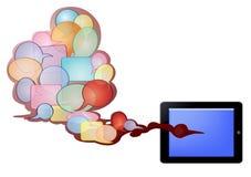 Texto da bolha e PC da tabuleta Fotos de Stock