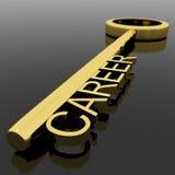 Texto da carreira em uma chave do ouro com fundo preto como o símbolo de novo Foto de Stock