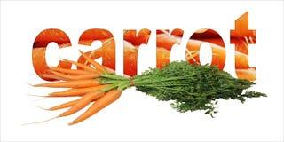 Texto da cenoura com lotes de vegetais da cenoura Fotos de Stock
