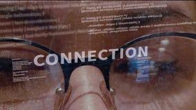 Texto da conexão no fundo do colaborador filme