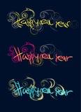 Texto da cor do ano novo feliz Imagens de Stock Royalty Free