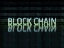 Texto da corrente de bloco escrito no formato binário do zero-one ilustração stock