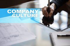 Texto da cultura de empresa na tela virtual Conceito do negócio, da tecnologia e do Internet imagens de stock royalty free