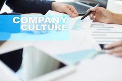 Texto da cultura de empresa na tela virtual Negócio, tecnologia, conceito do Internet imagem de stock
