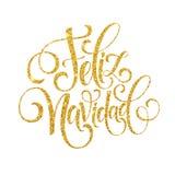 Texto da decoração da rotulação da mão de Feliz Navidad para o molde do projeto de cartão Etiqueta da tipografia do Feliz Natal d Imagens de Stock