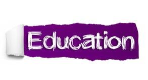 Texto da EDUCAÇÃO, conceito da inspiração, da motivação e do negócio no papel rasgado roxo ilustração royalty free