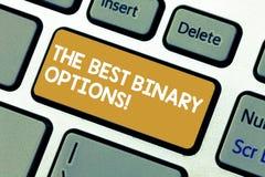 Texto da escrita as melhores opções binárias Chave de teclado monetária fixa das quantidades da grande opção financeira do signif ilustração do vetor