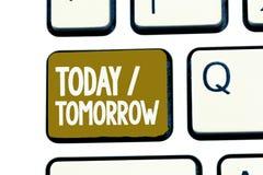 Texto da escrita hoje amanhã Significado do conceito o que estão acontecendo agora e o que o futuro trará imagem de stock royalty free