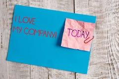 Texto da escrita mim Amor Meu Empresa O significado do conceito diz por que admirar seu papel e cartão do enrugamento do trabalho foto de stock royalty free