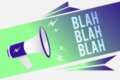 Texto da escrita da palavra blá - blá O conceito do negócio para falar demasiada informação falsa bisbilhota megafone falador lou ilustração royalty free