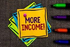 Texto da escrita da palavra mais renda O conceito do negócio para o dinheiro adicional recebe para uma troca notas de papel Impo  foto de stock royalty free