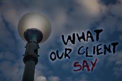 Texto da escrita da palavra o que nosso cliente diz Conceito do negócio para o feedback de clientes ou opinião sobre o cl do azul Imagem de Stock