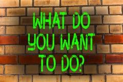 Texto da escrita da palavra o que você querem a Doquestion O conceito do negócio para Meditate relaxa o curso Desire Brick Wall d foto de stock