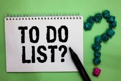 Texto da escrita da palavra para fazer a pergunta da lista O conceito do negócio para a série de tarefa ser feito organizou no ma imagens de stock royalty free