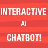 Texto da escrita que escreve Ai interativo Chatbot Programa informático do significado do conceito que simula a conversação do hu ilustração stock