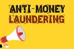 Texto da escrita que escreve a anti lavagem de dinheiro Parada do significado do conceito que gera a renda com o noti Multiline d ilustração stock
