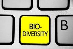 Texto da escrita que escreve a bio diversidade Variedade do significado do conceito do amarelo k de Marine Fauna Ecosystem Habita fotos de stock