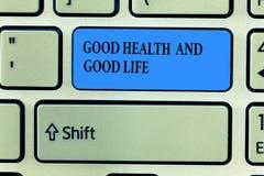 Texto da escrita que escreve a boa saúde e a boa vida O conceito que significa a saúde é um recurso para viver uma vida completa imagens de stock royalty free