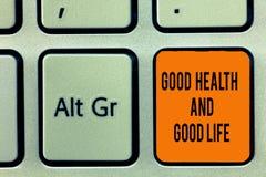 Texto da escrita que escreve a boa saúde e a boa vida O conceito que significa a saúde é um recurso para viver uma vida completa fotografia de stock royalty free