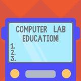 Texto da escrita que escreve a educação do laboratório do computador Conceito que significam a sala ou espaço equipado com o uso  ilustração royalty free