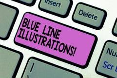 Texto da escrita que escreve ilustrações de Blue Line Significado do conceito que investe em construir uma presença e uma confian imagem de stock