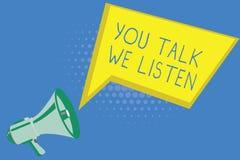 Texto da escrita que escreve lhe a conversa nós escutamos Conceito que significa a conversação inspirador de uma comunicação em d ilustração royalty free