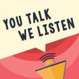Texto da escrita que escreve lhe a conversa nós escutamos Conceito que significa a conversação inspirador de uma comunicação em d ilustração do vetor