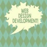 Texto da escrita que escreve o desenvolvimento do design web Web site tornando-se do significado do conceito para hospedar atravé ilustração do vetor