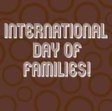 Texto da escrita que escreve o dia internacional das famílias Anel do círculo da celebração da unidade do tempo da família do sig ilustração do vetor