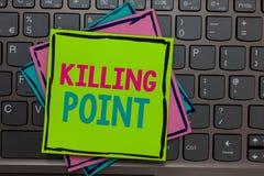 Texto da escrita que escreve o ponto de matança A avaliação de projeto da porta da fase da revisão do fim da fase do significado  imagem de stock