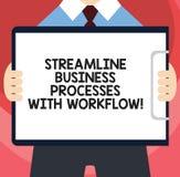 Texto da escrita que escreve processos de negócios da aerodinâmica com trabalhos Homem social do processo dos meios do computador ilustração stock