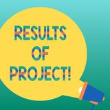 Texto da escrita que escreve resultados dos projetos Conceito que significa a consequência ou o resultado de determinada placa da ilustração royalty free