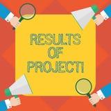 Texto da escrita que escreve resultados dos projetos O conceito que significa a consequência ou o resultado de determinadas ações ilustração stock