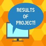 Texto da escrita que escreve resultados dos projetos O conceito que significa a consequência ou o resultado de determinadas etapa ilustração royalty free