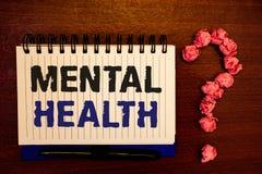 Texto da escrita que escreve a saúde mental Conceito que significa o bem estar psicológico e emocional da circunstância de uma pe fotografia de stock royalty free