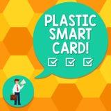 Texto da escrita que escreve Smart Card plástico Conceito que significa o símbolo da segurança que encaixou o homem inteligente d ilustração stock