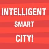 Texto da escrita que escreve Smart City inteligente Conceito que significa a cidade que tem uma listra de intervalo mínimo de uma ilustração do vetor